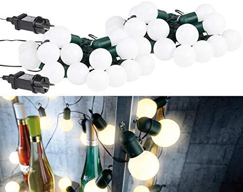 Lunartec Disco Lichterkette: 2er-Set LED-Lichterkette mit je 20 Lämpchen, 1,2 W, warmweiß, IP44 (Party-Lichterkette LED Outdoor)
