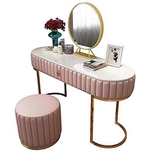 SWTOM Juego de tocador de mármol con Espejo Redondo, Mesa de Maquillaje con cajón Grande y Taburete Suave, para niña, Dormitorio de Mujeres