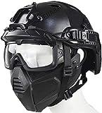 Airsoft Tactical Fast Helmet Media Máscara Militar con Gafas Divididas En 3D, Que Se Utiliza para los Juegos De rol De Caza Airsoft Paintball CS Games