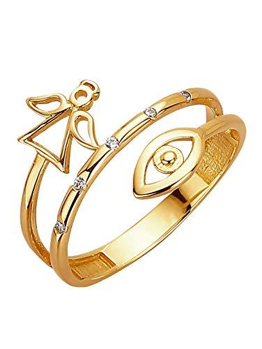 KLiNGEL Damen 375 Gelbgold Ring in Gelbmit Synthetischer Zirkonia in Weiß und in und in