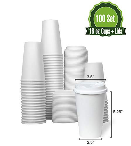Safeware 16 oz [ 100 Set] Togo Disposable White Paper Coffee Cups with Lids | Hot Beverages | Expresso | Tea | Coffee | Latte | Hot Chocolate