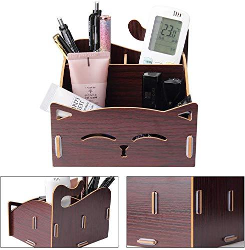 Fai da te in legno assemblare portamatite con penna a forma di gatto carino. Supporto per organizzatore da scrivania per casa, ufficio (marrone)