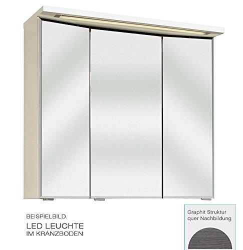 PELIPAL Trentino 1070/1100 Spiegelschrank 3D / Graphit/LED-Leuchte / 105 x 72 x 20 cm/EEK: A++