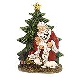 """Roman Christmas 6.25"""" Kneeling Santa with Tree Figurine Wafer Figure"""