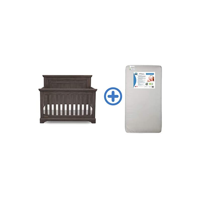 crib bedding and baby bedding simmons kids slumbertime paloma 4-in-1 convertible baby crib & ultra deluxe 2-in-1 innerspring crib and toddler mattress, rustic grey