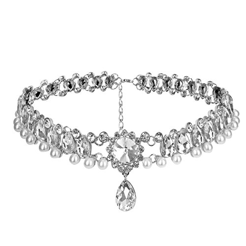 Fashion Womens Pearl Collar Crystal Diamond Chunky Choker Pendant Bib Necklace