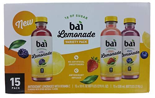 Bai Lemonade Antioxidant Infused Variety Pack (18 fl. oz. bottles, 15 pk.)