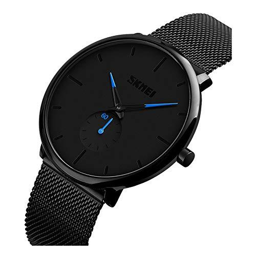 Teen fashion Cool Black ultra-dunne quartz horloge trend waterdicht roestvrij staal gaas riem horloge