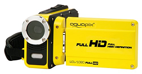 Aquapix WDV1080 Lagoon Camcorder (6,8 cm (2,7 Zoll) Display, 12 Megapixel interpoliert, 4-Fach dig. Zoom, Full-HD, HDMI, Wasserdicht bis 3 m, USB 2.0) gelb