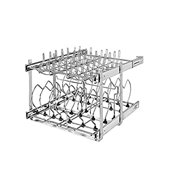 Rev-A-Shelf 5CW2-2122-CR 21-Inch 2-Tier Wire Pull Out Kitchen Cabinet Organizer for Pots Pans and Lid Cookware Chrome