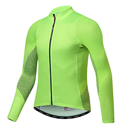 Santic Cycling Jersey Men's Long Sleeve Tops Mountain Bike Shirts Bicycle Jacket with Pockets Green M