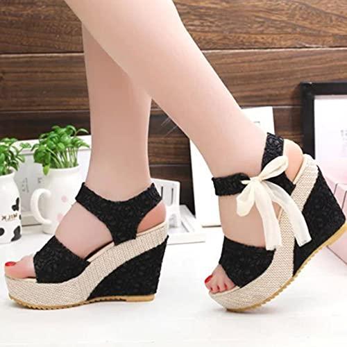 DZQQ Moda INS Hot Lace Ocio Mujeres Cuñas Zapatos de tacón de Mujer Sandalias de Verano Plataforma de Fiesta Zapatos de Tacones Altos Mujer