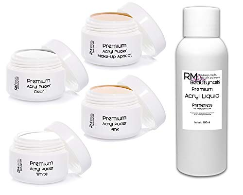 4x20g Acryl Puder Set 2-1x100ml Liquid - Klar - Weiß - Pink - Apricot Pulver in Studio Qualität