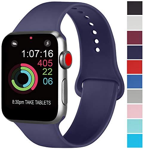 Preisvergleich Produktbild AK kompatibel mit für Apple Watch Armband 42mm 38mm 44mm 40mm,  Weiche Silikon Sport Ersatz Armbänder kompatibel mit für iWatch Series 4,  Series 3,  Series 2,  Series 1 (03 Marineblau,  42 / 44mm S / M)
