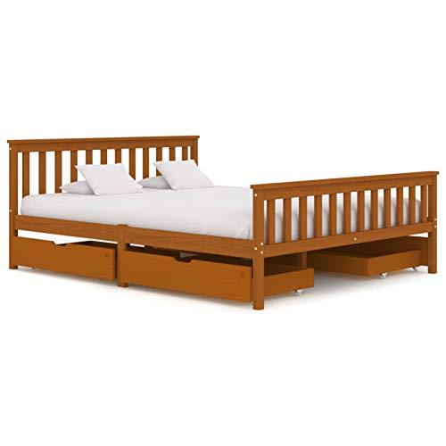 Tidyard Massivholzbett Schlafzimmerbett Bett Bettgestell aus massivem Kiefernholz Mit...