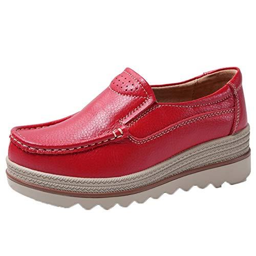 Zapatos de Plataforma de Ocio sin Cordones para Mujer Zapatos de Trabajo Casuales de Primavera y otoño Ligeros para Uso Diario al Aire Libre Creepers de Cuero