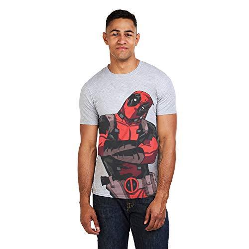 Marvel Herren Deadpool Talking T-Shirt, Grau (Grey Marl), L