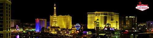 1art1 Las Vegas - Strip Panorama Bei Nacht Selbstklebende Fototapete Poster-Tapete 240 x 60 cm
