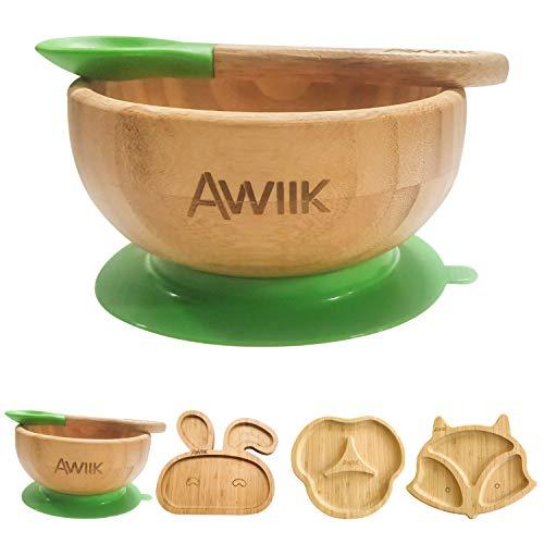 AWIIK – Bol pequeño de Bamboo con fuerte Ventosa para Bebes y niños pequeños. Cuenco BLW de bambú antideslizante con succión y ventosa antivuelco para aprender a comer BLW. (Bowl)