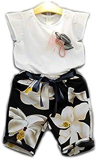 Girl's 2 Pcs pants Set O Neck Floral Comfy Fashion Set