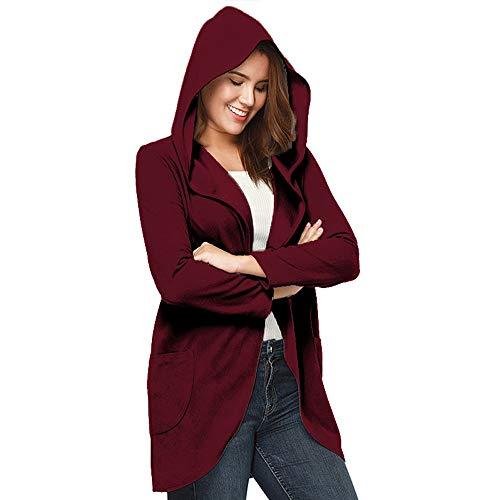 OSYARD Damen Offene Cardigan Strickjacke Asymmetrisch Strickmantel Mantel mit Tasche Einfarbig, Frauen Öffnen Sie Vordere Lange Hülsen mit Kapuze Cardigans Coat Casual Tops Outwear