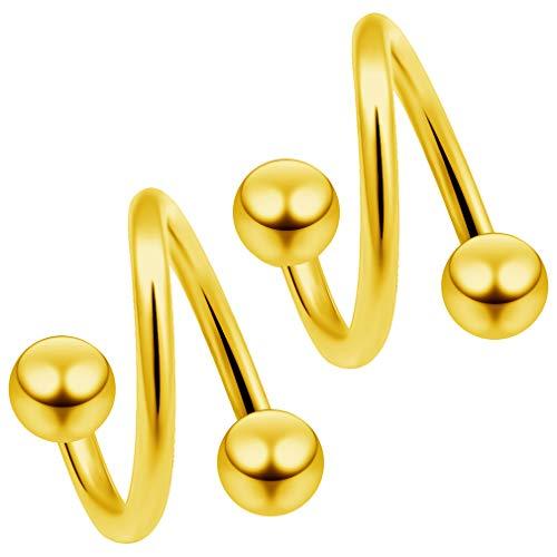 2 x 1,2 mm goud geanodiseerd chirurgisch staal twist tragus spiraal piercing spiraal oor helix lippiercing 8 mm