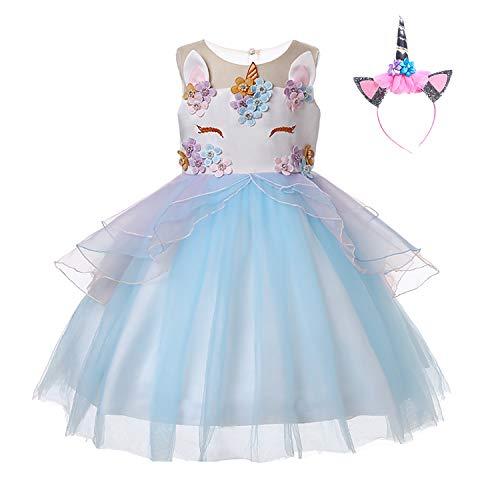 UrbanDesign Robe de Princesse Licorne Déguisement Unicorne pour Petite Fille, (11-12 Ans, Bleu)