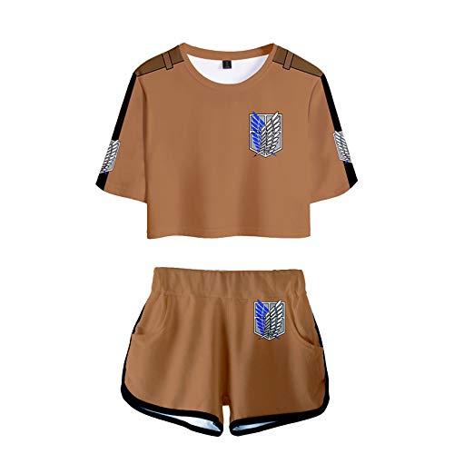 KIACIYA Maglietta Attack on Titan per Uomo Donna, 3D Shingeki No Kyojin Scout Regiment Levi Anime Cosplay T Shirt + Pantaloncini Moda Due Pezzi Maglietta Maglia Camicia Camicetta Tops (8D,S)