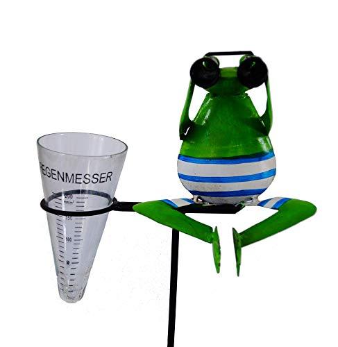 Amicaso Regenmesser Frosch Fernglas Metall Gartenstecker Pluviometer grüner Frosch