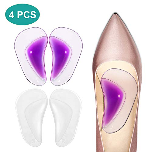 PINCOU Gel Arch Support Insoles, Silicone Orthotic Arch Support Pad for Flat Feet and Plantar Fasciitis Pain Relief, High Heel Inserts Cushion for Sandals, Flip Flops and Boots (2 Pairs)