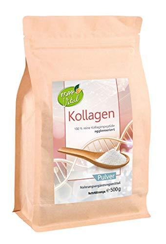 Kopp Vital Kollagen Pulver 500g | 100 Prozent reines Kollagen | Weidehaltung | Ohne Gentechnik | Laktosefrei | Glutenfrei | Zusatzstofffrei | Hergestellt und geprüft in Deutschland