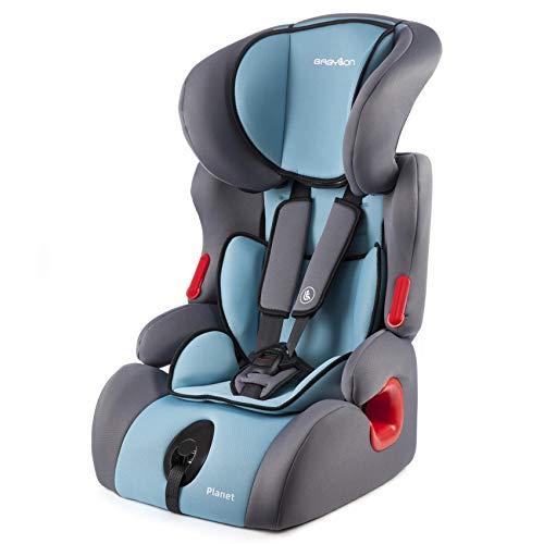 BABYLON Babysitz Auto Planet Autokindersitz Gruppe 1/2/3, Kindersitz 9-36 kg (1 bis 12 Jahren). Kindersitz mit Top Tether 5 Punkt Sicherheitsgurt. Autositz ECE R44/0 Grau/Türkis