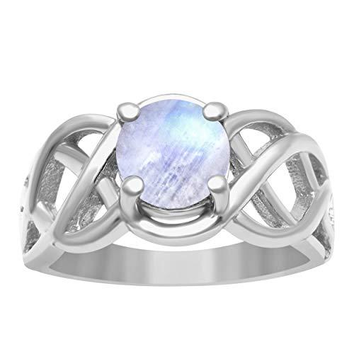 Shine Jewel Criss Cruzar Diseño 925 Anillo de Plata esterlina de 1,25 Ctw Moonstone para Mujer (24)