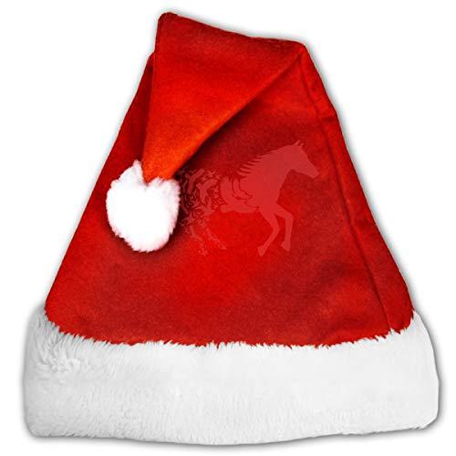 CZLXD Weihnachtsmütze mit Pferde-Silhouette, Filz, Party-Zubehör, Polyester, rot, S