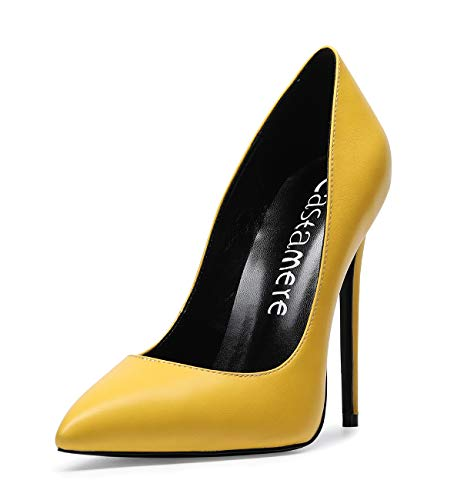 CASTAMERE Mujer Zapatos de Tacón Zapatos Mujer Tacon Fiesta Sexy Clásico Stilettos High Heels Forro Negro Zapatos Tacones Altos 12cm PU Amarillo EU 36.5
