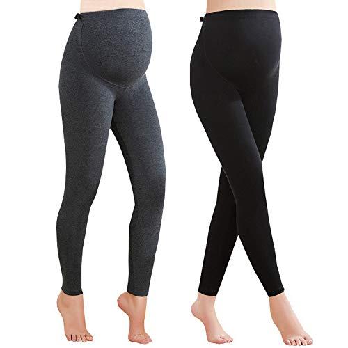 Foucome 2 Pack Maternity Leggings Full Ankle Length Cotton Super Soft Support Leggings Grey + Black, UK S