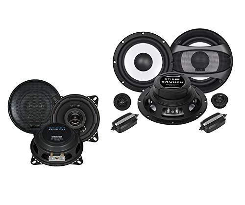 Crunch Front/Heck 16,5cm/10cm Auto Lautsprecher/Boxen/Speaker Komplett-Set kompatibel für FIAT