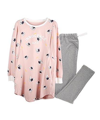 More4moms Womens Loose Nursing Pajamas/PJS Loose Cotton Maternity Nursing Sleepwear Sets (Pink, Medium)