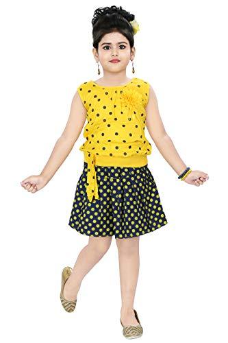 Chandrika Girl's Casual Skirt and Top Set (Yellow, 6 – 7 Years)
