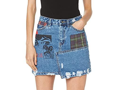 Desigual Skirt Comic Falda, Azul (Denim Medium Wash 5053), 32 (Talla del Fabricante: 32) para Mujer