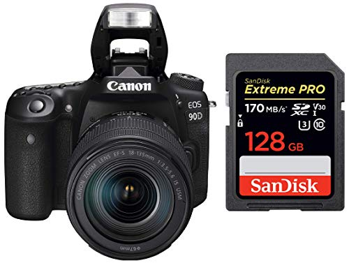Canon EOS 90D Digital SLR Camera with 18-135 is USM Lens with 16GB Card + SanDisk 128GB Extreme Pro SDXC UHS-I Card - C10, U3, V30, 4K UHD, SD Card