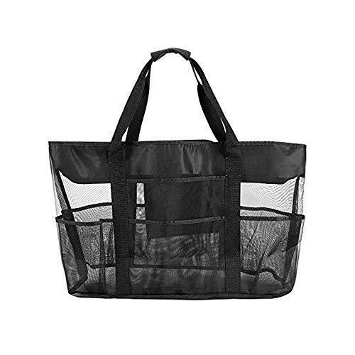 Große Mesh Beach Bag - Mesh Beach Tote Bag mit Taschen - Strandtaschen und Tragetaschen für Damen mit Reißverschluss & 8 große Taschen für Strandzubehör & Strandspielzeug