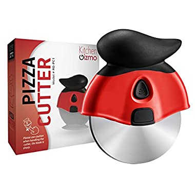 Kitchen Gizmo, Pizza Cutter Wheel - Smooth Slicing With Sharp Stainless Steel Blade - Specially Designed Ergonomic Rubberized Grip And Protective Sheath With Stand - Blade Comes Out For Easy Cleaning