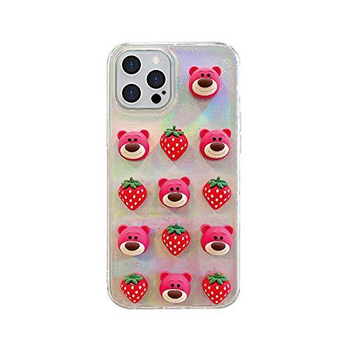 Clear Transparent 3D Soft TPU Case for Apple iPhone 11 Pro 11Pro Pink Lotso Huggin Bear Red Strawberry Toy Story Walt Disney Disneyland Cartoon Cute Lovely Fun Adorable Kids Teens Girls Daughter