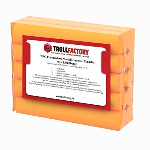 TFC Troll Factory Modelliermasse I Formenbau Plastilin I weich bleibend, orange I 2 x 250 g