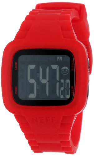 Neff NF0207RD - Reloj Digital Unisex, Correa de Silicona Color Rojo