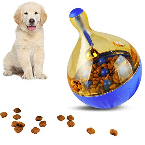 interactive dog toys Dog Interactive Puzzle Toys Boredom - Small Dog Toys Food Treat Dispensing Ball Puppy Toys Exercise Thinking Improve Intelligence IQ Pet Toy Ball Blue 5.31x3.74inch