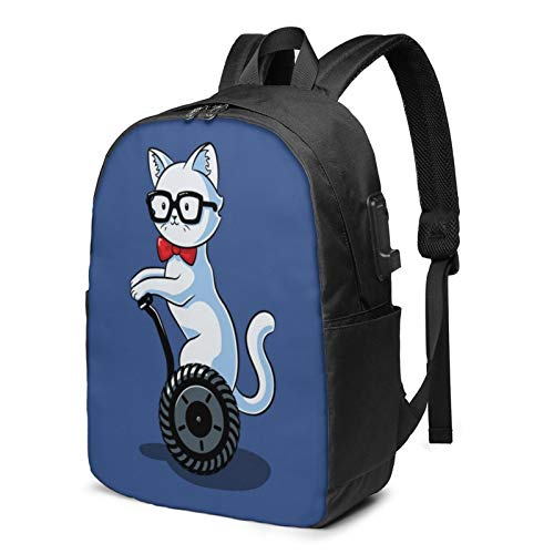 Nerdy Cat Casual Daypacks Fashion Popular Multipurpose Daypacks With USB interface and headphone cable High capacity Business Laptop Backpacks Hiking Daypacks