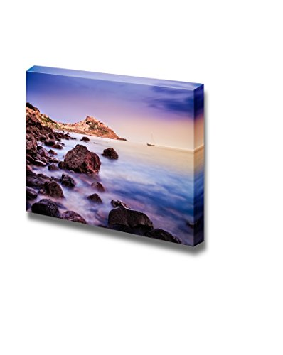 """Canvas Prints Wall Art - Ocean Coastline with Village in the Background at Sunrise, Castelsardo, Sardinia, Italy Nature Beauty 