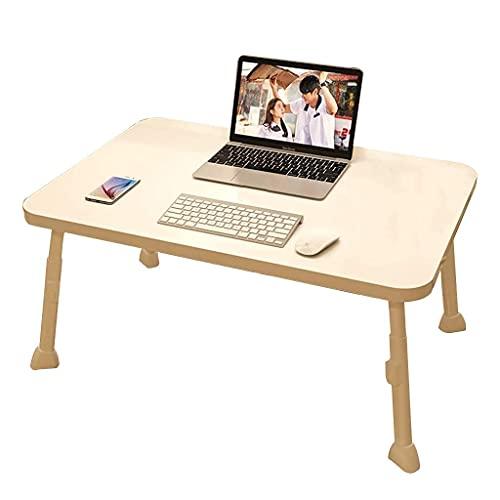 DERUKK-TY Mesa pequeña en la cama, escritorio portátil de pie, ajustable, plegable, para trabajar en el sofá, piso, comida leída (color: blanco B, tamaño: 60 x 40 x 28 cm)